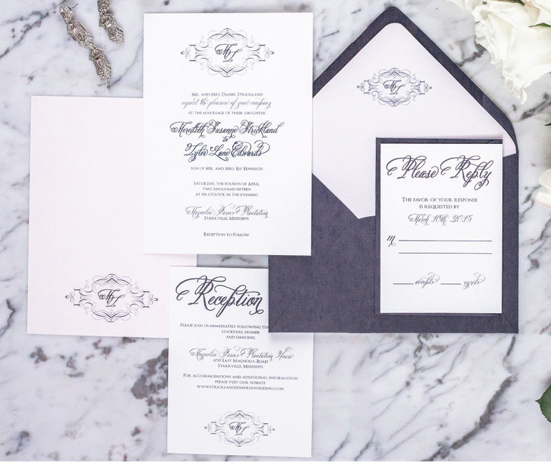 Vera Navy & Blush Elegant Wedding Invitation