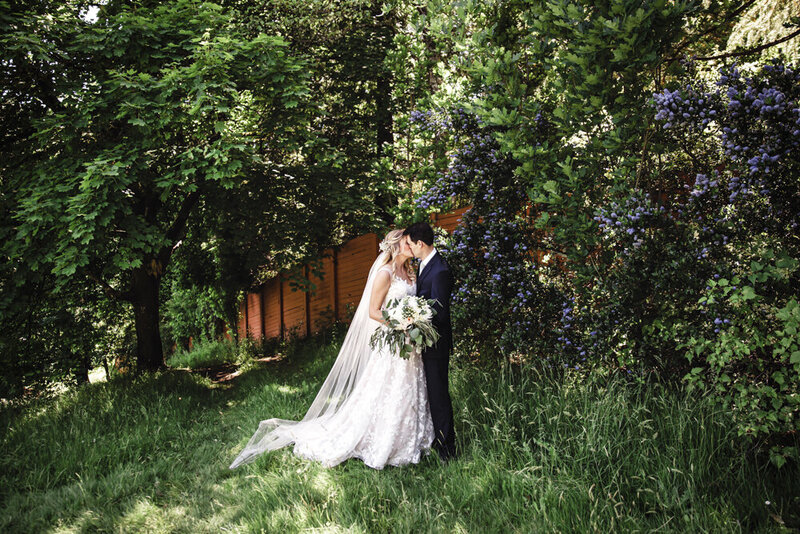 bride and groom in trees at World Forestry Center in Portland, Oregon