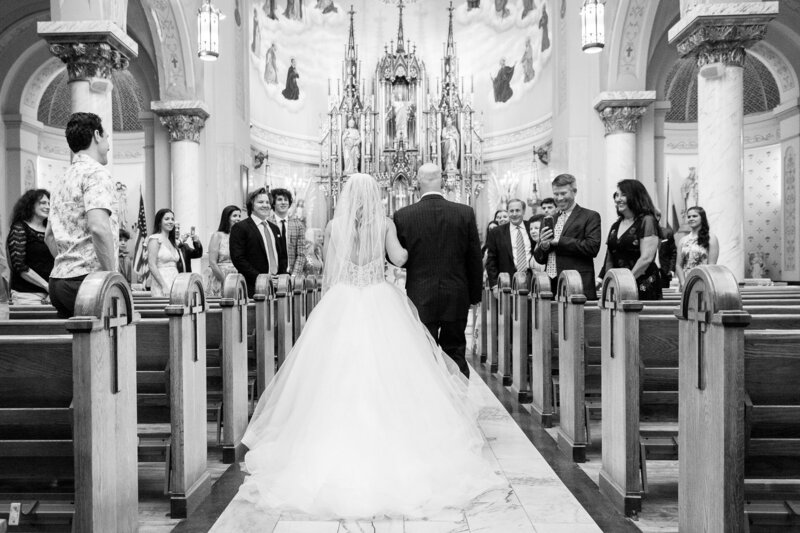 dad walking bride up the isle of st. john cantius church cleveland