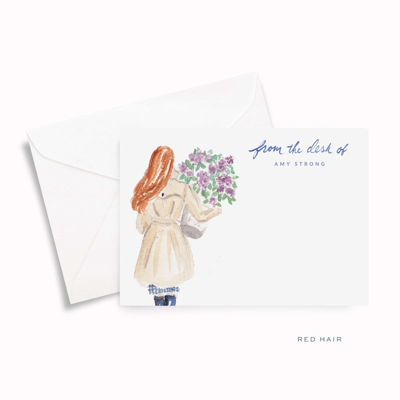 lilac girl spring watercolor personalized stationery red hair