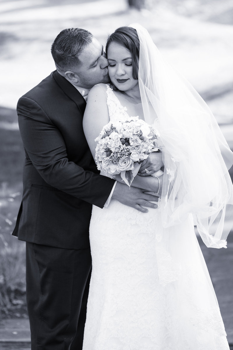 romantic wedding photography, black and white photo bride and groom