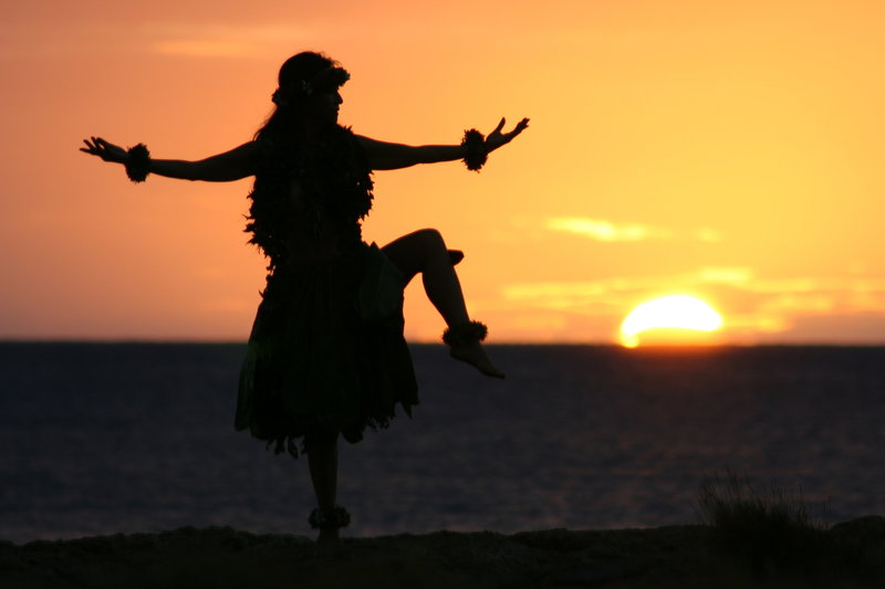 Hawaiian Hula girl posing in the sunset