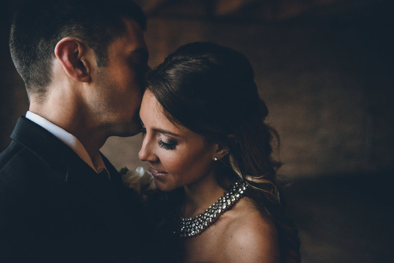 Bride and groom portraits at their Lacuna Artist Lofts wedding in Chicago