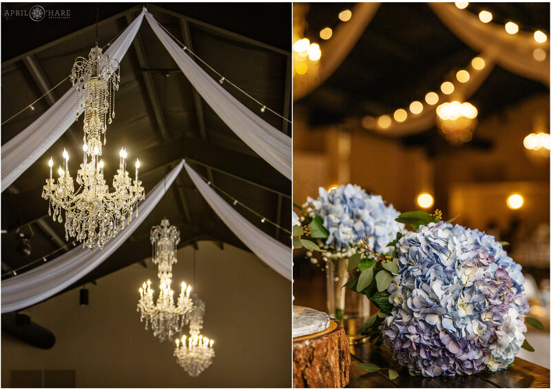 Elegant Chandeliers hang from vaulted ceiling at Wedgewood Weddings Black Forest