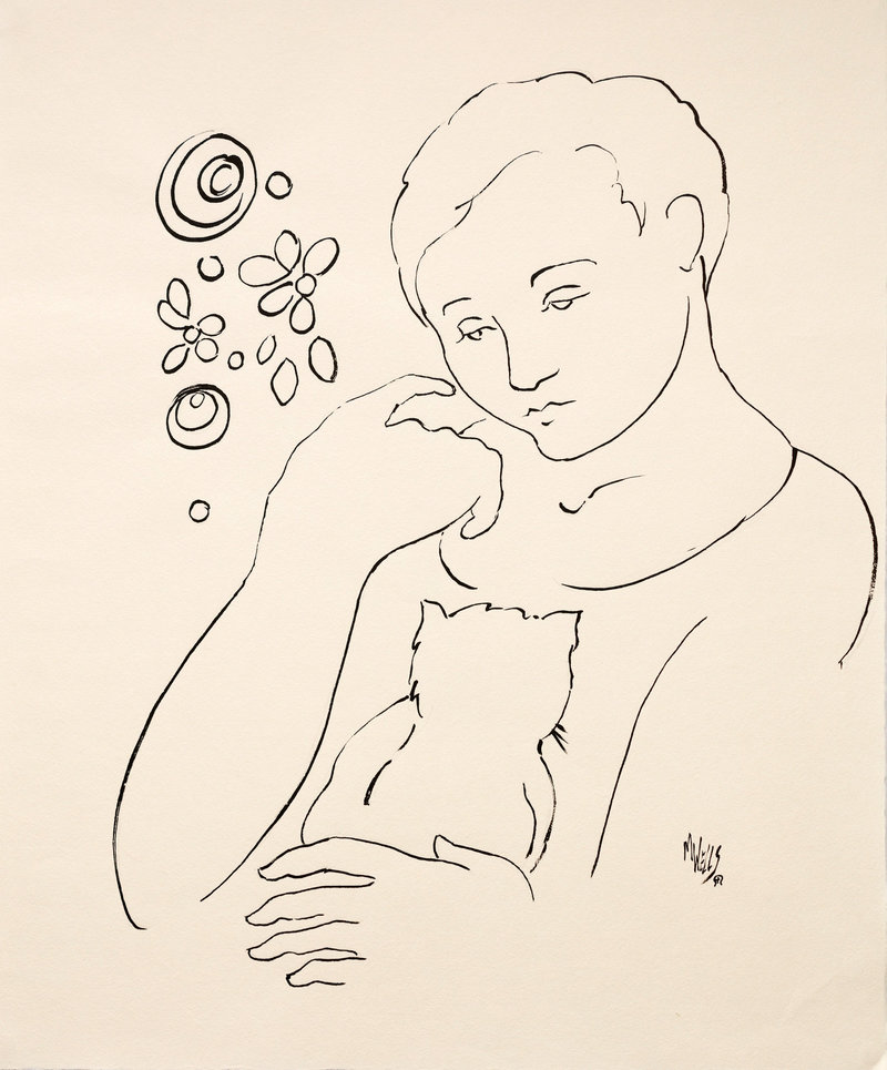 Original limited edition ink drawing of girl holding cat with flowers in background.