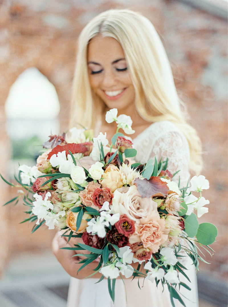 bride with her bridal bouquet