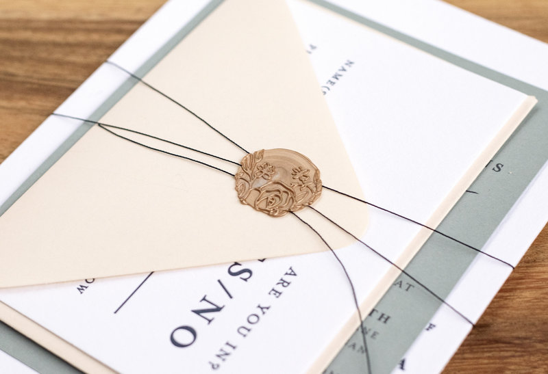Floral wax seal wedding invitation