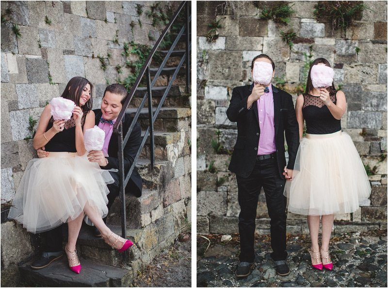 river street engagement session cotton candy tutu