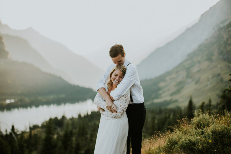 Glacier National Park MT Elopement Couple Embracing in the Mountains