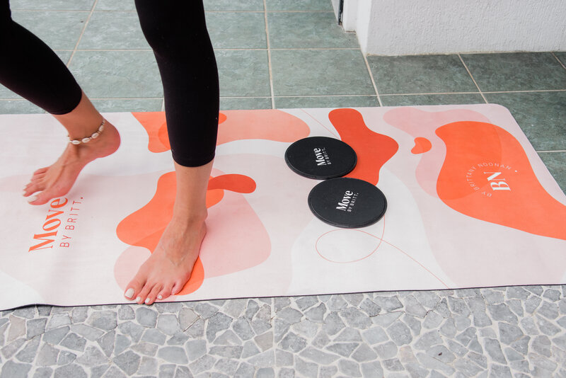 Yoga mat in full view of design