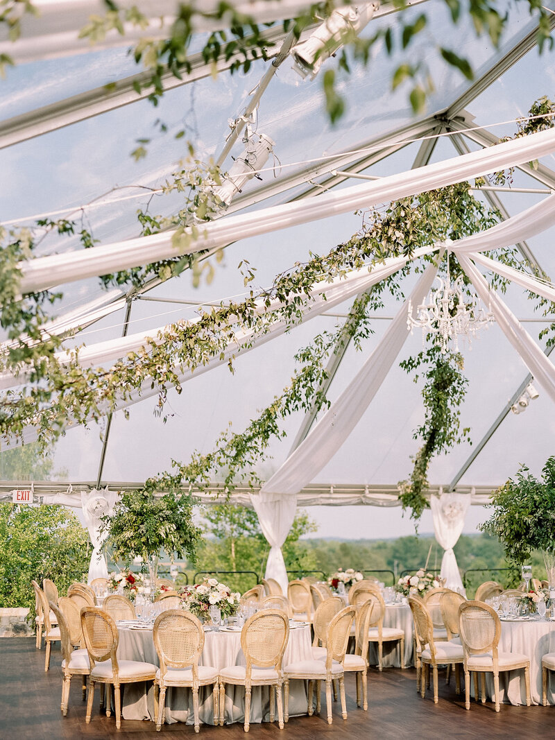 Clear Top Tented Reception with Greenery
