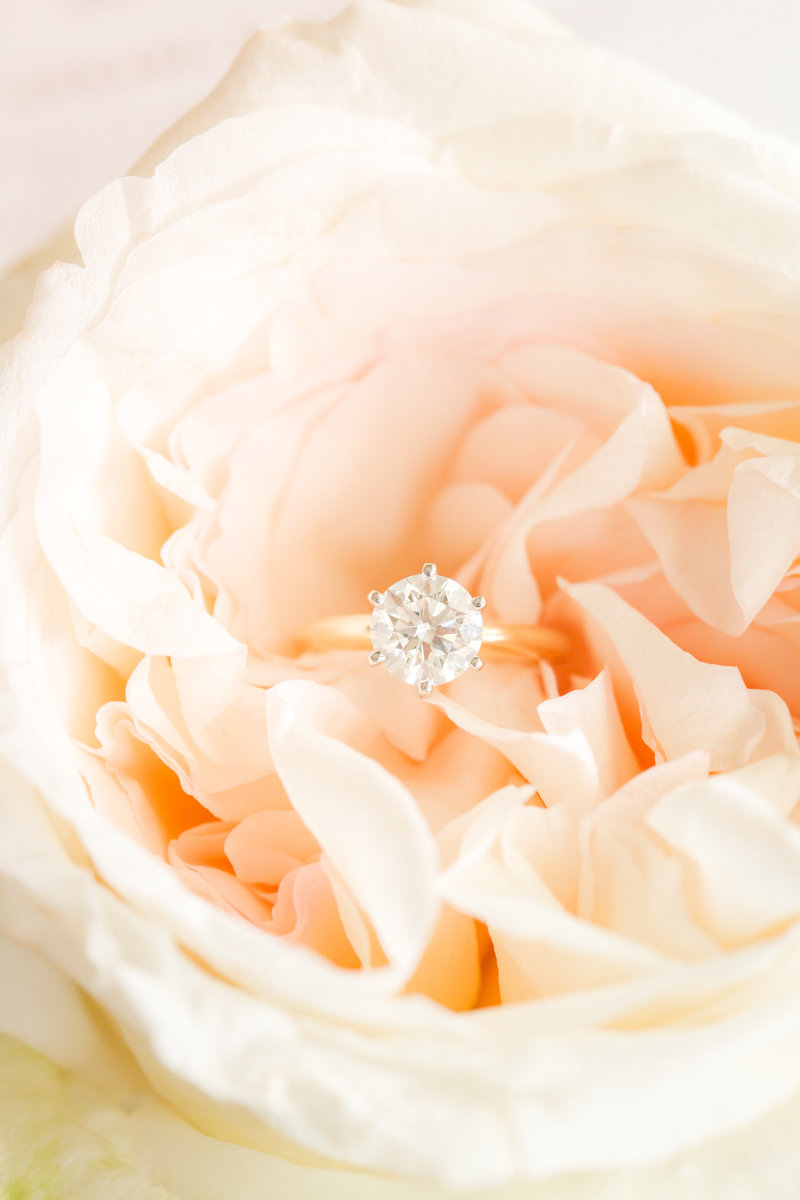 Engagement  ring in peach flower