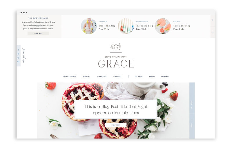 Entertain with Grace - Custom Brand and Showit Web Design by With Grace and Gold - Branding and Web Design for Bloggers - 1