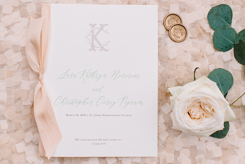 peach wedding program monogram silk ribbon wax seal