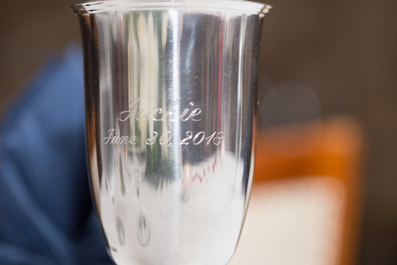 Engraved chalice at Masonic Temple wedding reception