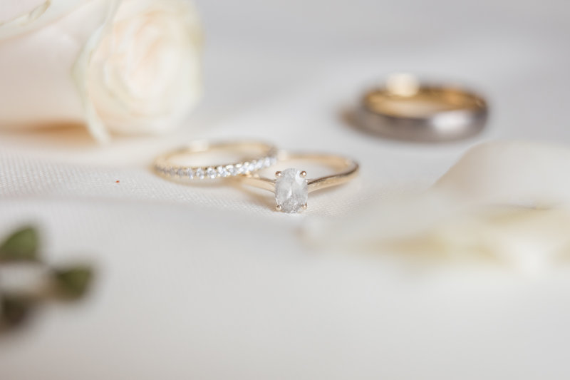 Three rings, engagement wedding bands