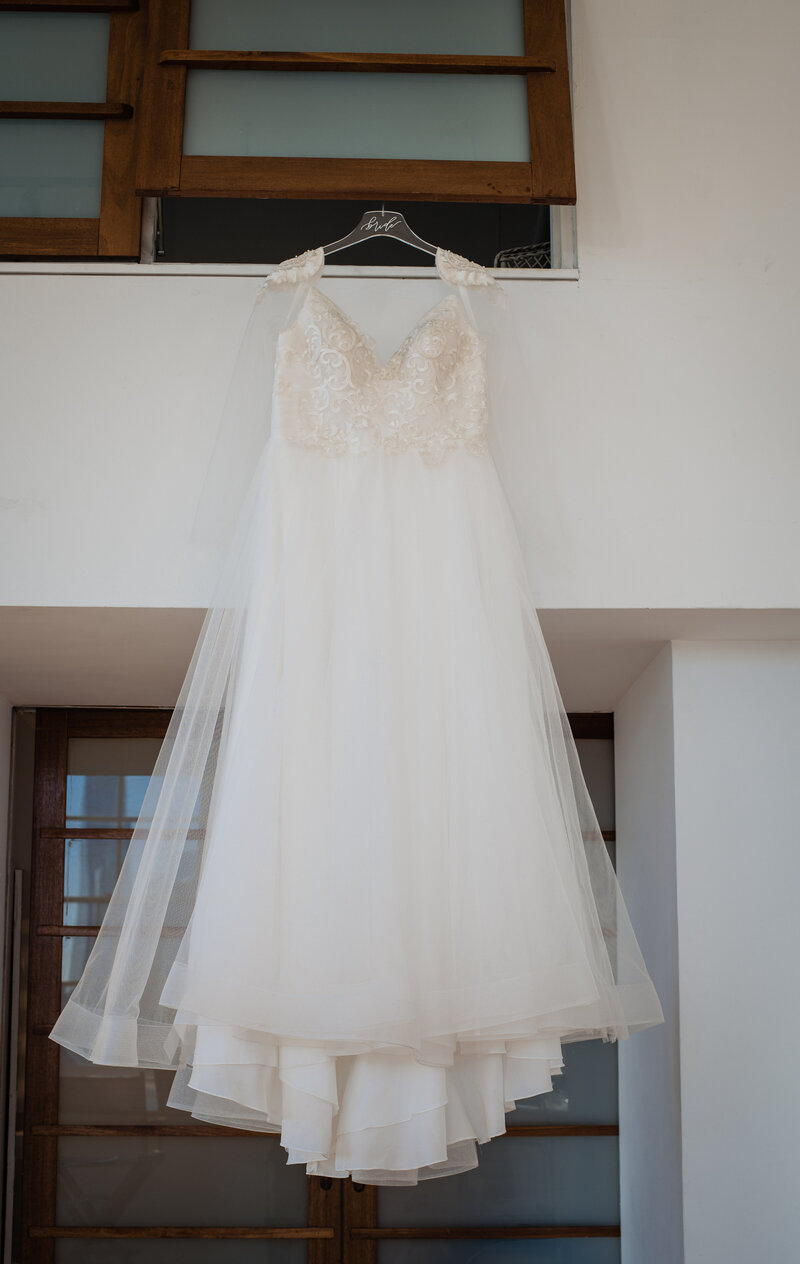 Beautiful bridal wedding gown with with tulle and bead appliques for styled shoot