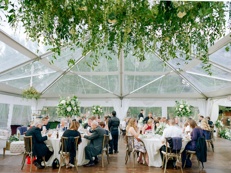 Full wedding reception under clear-roofed tent, white table cloths and gold chairs, green foliage hangs from above