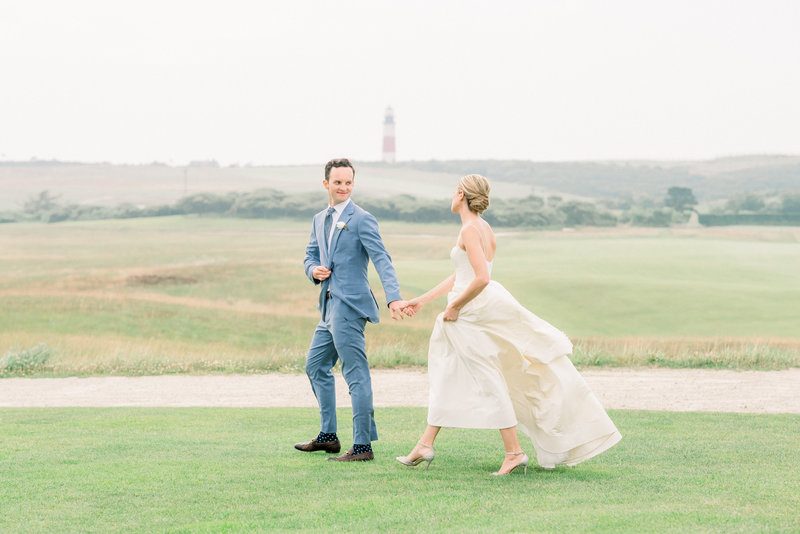 Sam and Phoebe walk along Sankaty Golf course for bridal portraits