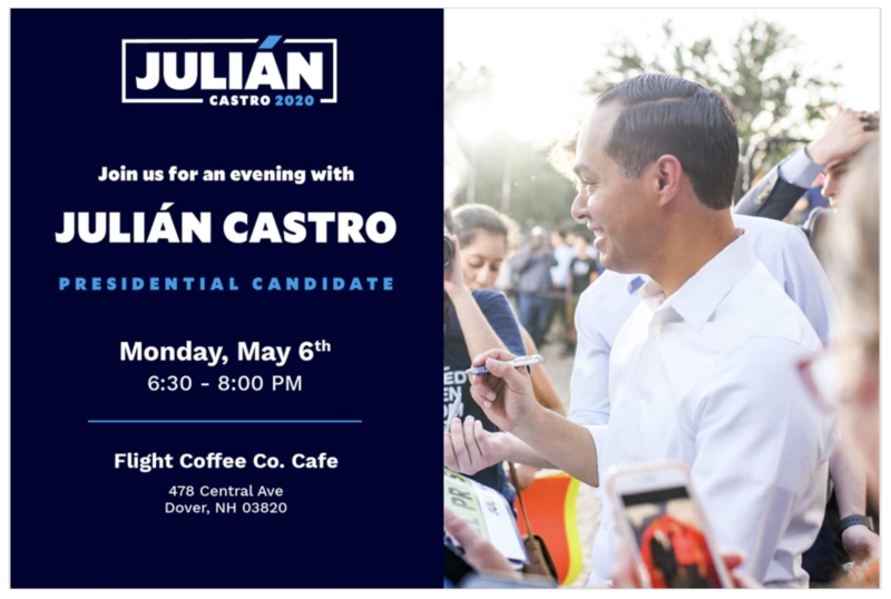 Julian Castro event flyer with photo