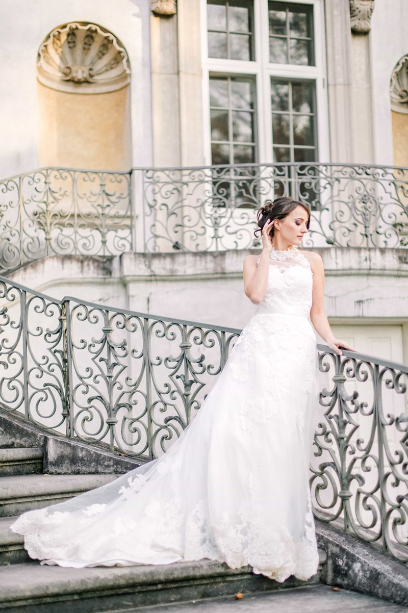 beautiful bride on staircase