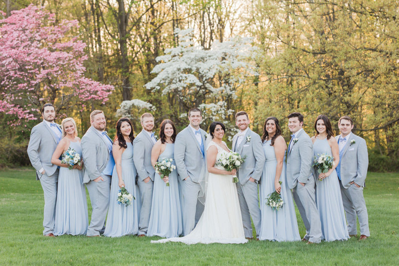 light blue and gray wedding party  at Stone House at Stirling Ridge Maryland Wedding by  Costola Photography