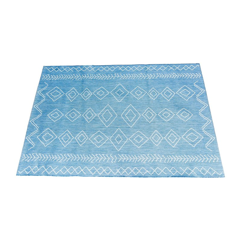 Outdoor rug with tribal pattern.