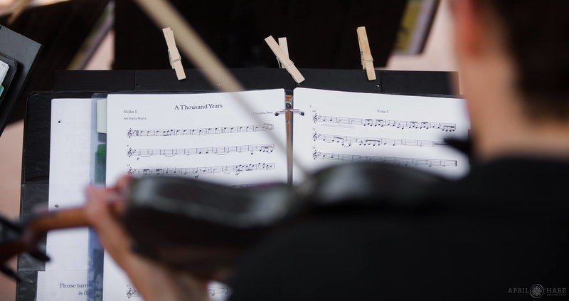 Close up of sheet music from Nexus Strings at Denver Botanic Gardens Summer Wedding