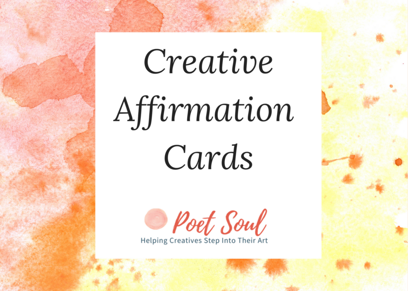 Title page for creative affirmation cards with orange and yellow paint splatter background