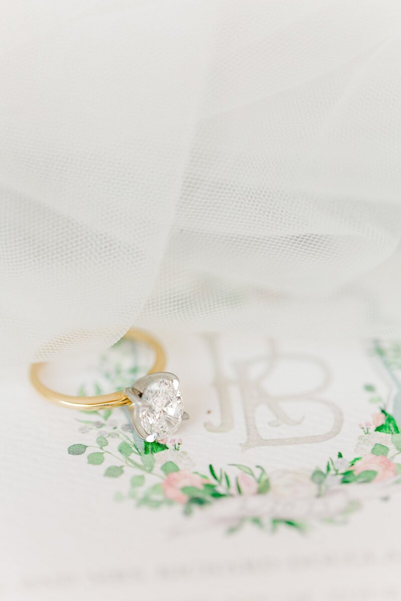 oval diamond on gold band by Knoxville Wedding Photographer, Amanda May Photos