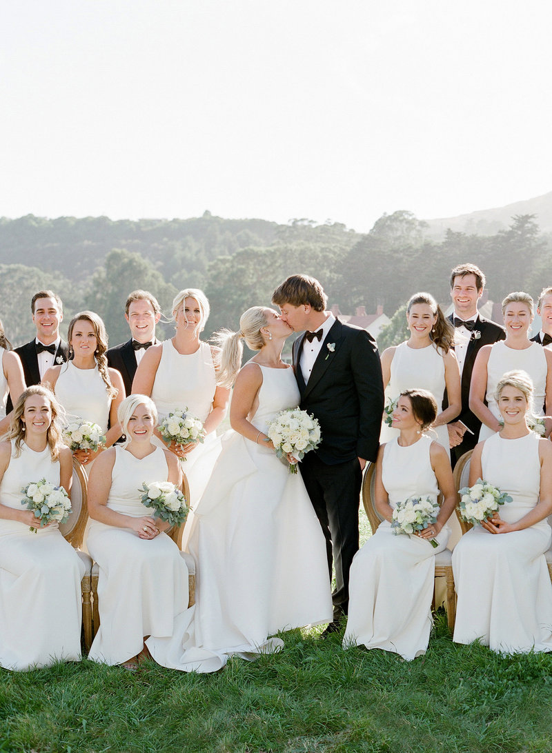 Bridal party for wedding by Jenny Schneider Events at Cavallo Point luxury resort in Sausalito in Marin County, California. Photo by Lacie Hansen Photography.