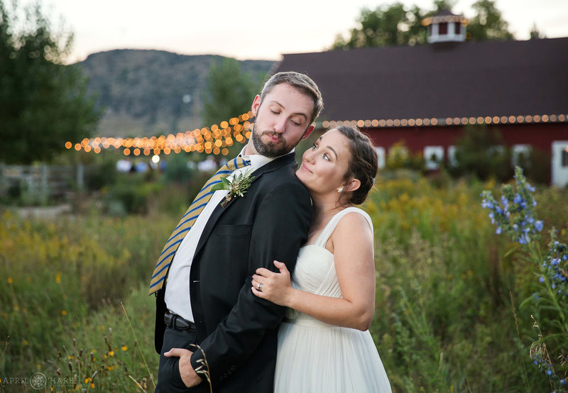 Cute wedding photo in the gardens at Chatfield Farms Denver Botanic Gardens