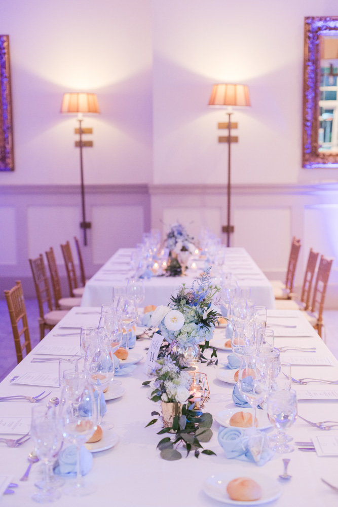 table settings at reception at Stone House at Stirling Ridge Maryland Wedding by  Costola Photography