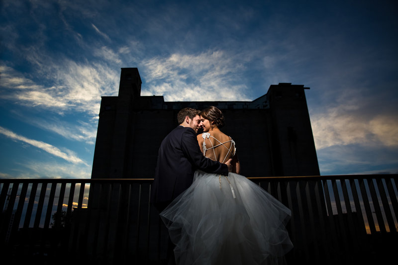 Couple at Surly brewery wedding