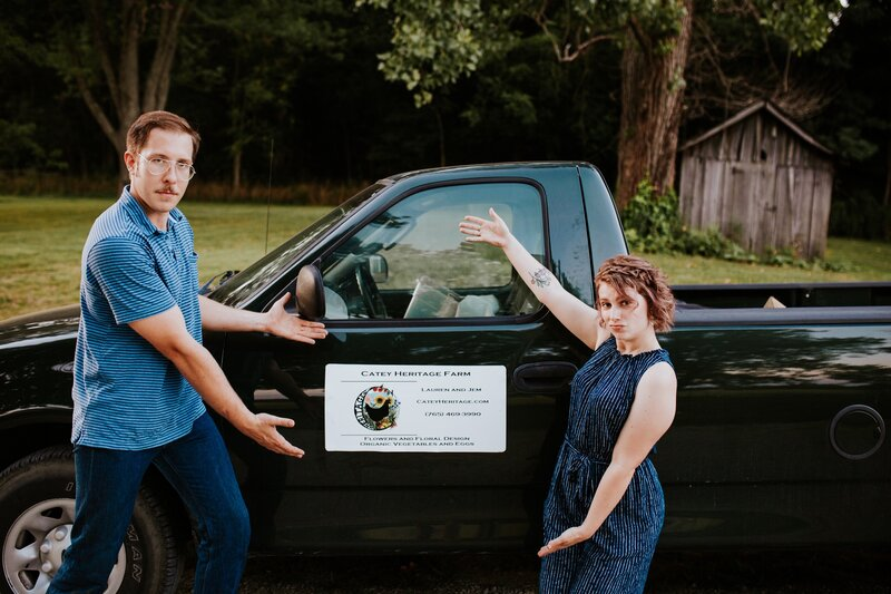 Lauren and Jem with Catey Heritage Farm truck