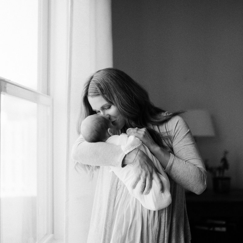 Newborn Photography on black and white film in Pittsburgh and Maine, Tiffany Farley
