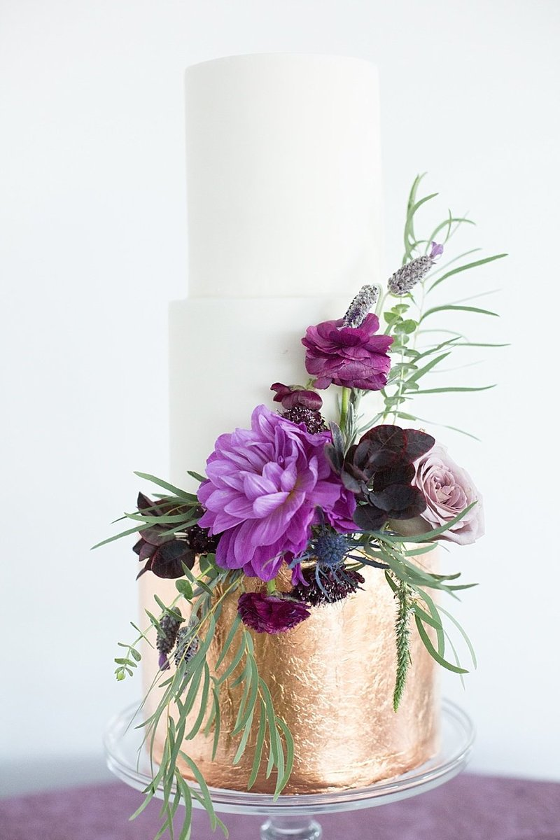 gold and purple wedding cake | Monique Lockwood