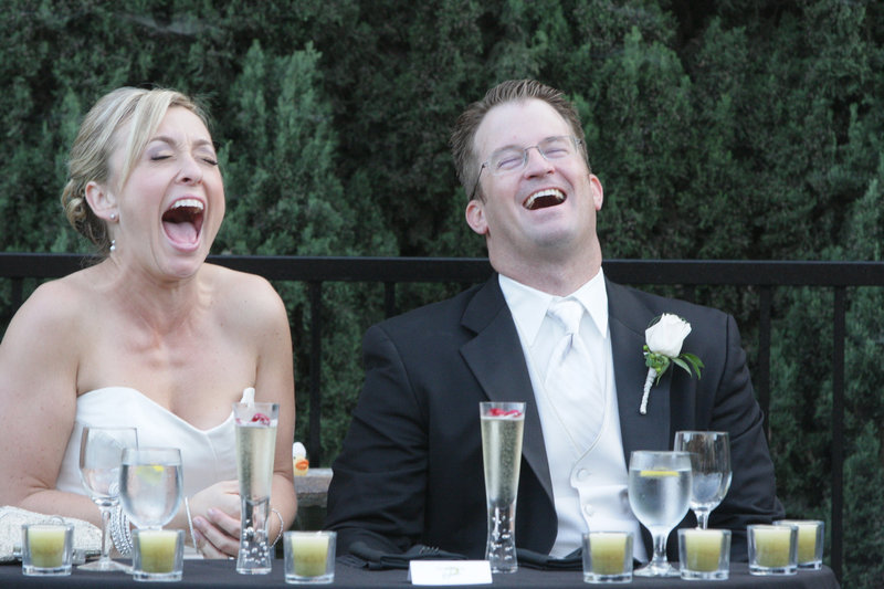 laughing bride and groom, wedding photography