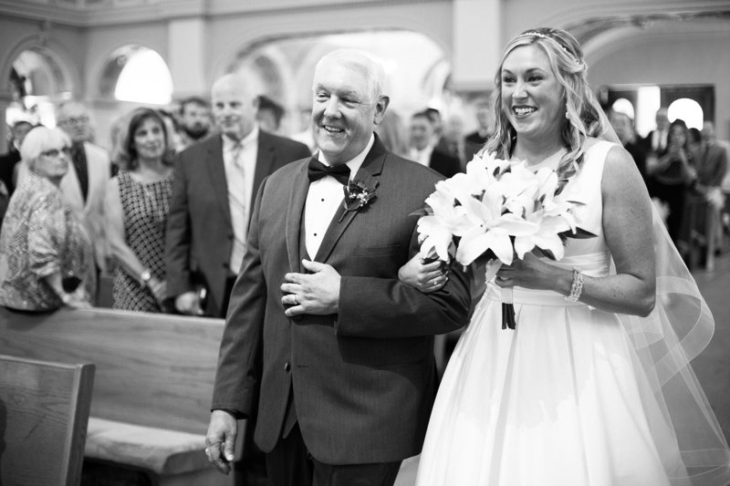 Father escorts bride down the aisle at St. Patrick's Church wedding