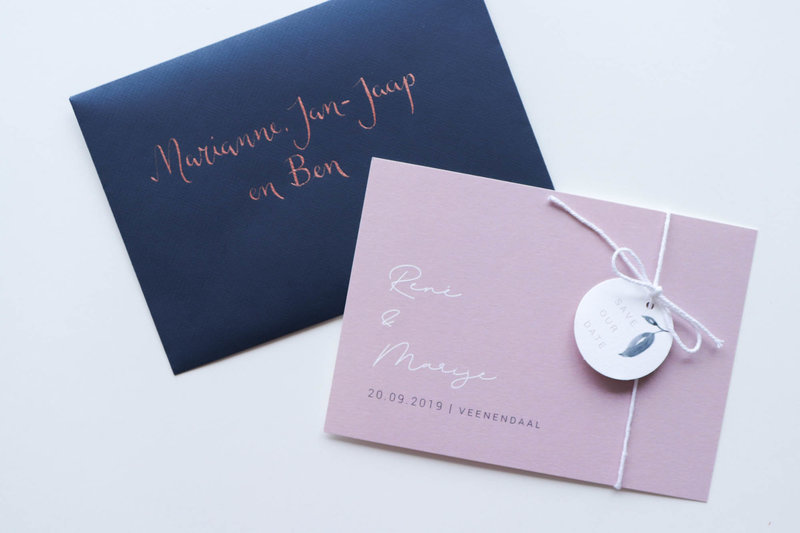 Mauve navy save the date met label