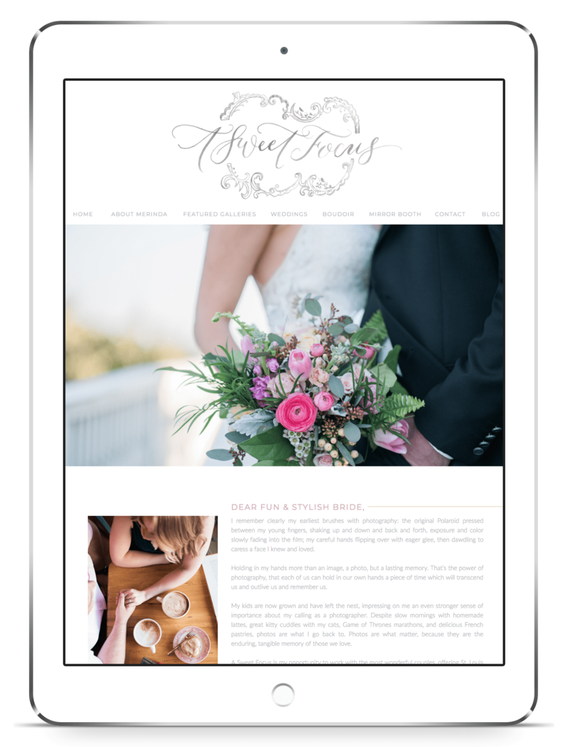 iPad image of a custom Showit website design by Crystal Lee Design Studio