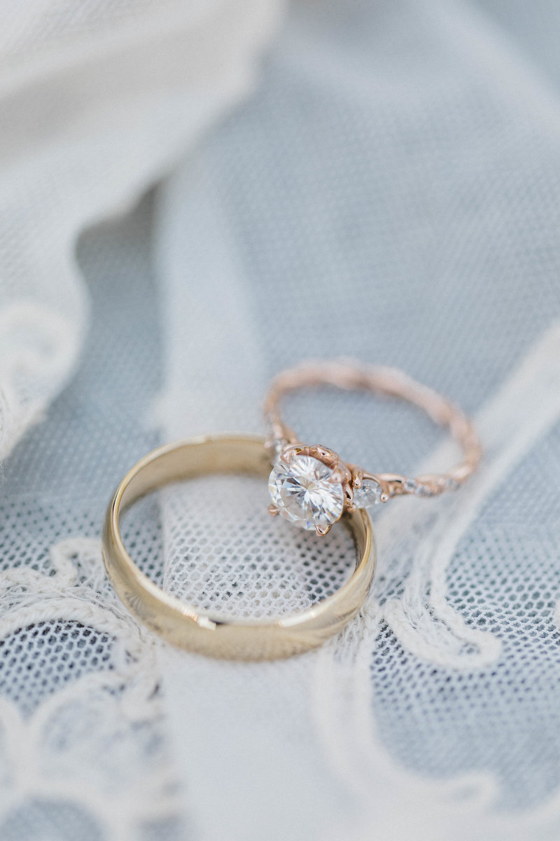 Wedding rings laying atop lace handkerchief