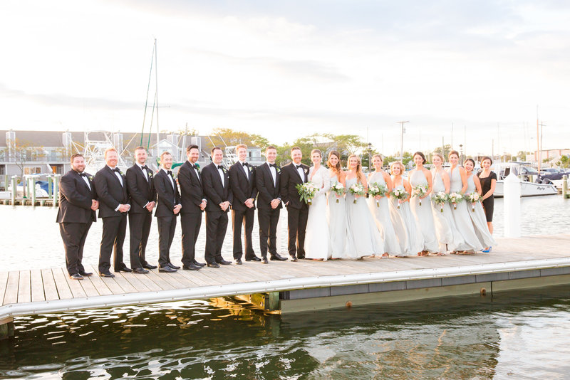 Bridal party on a dock