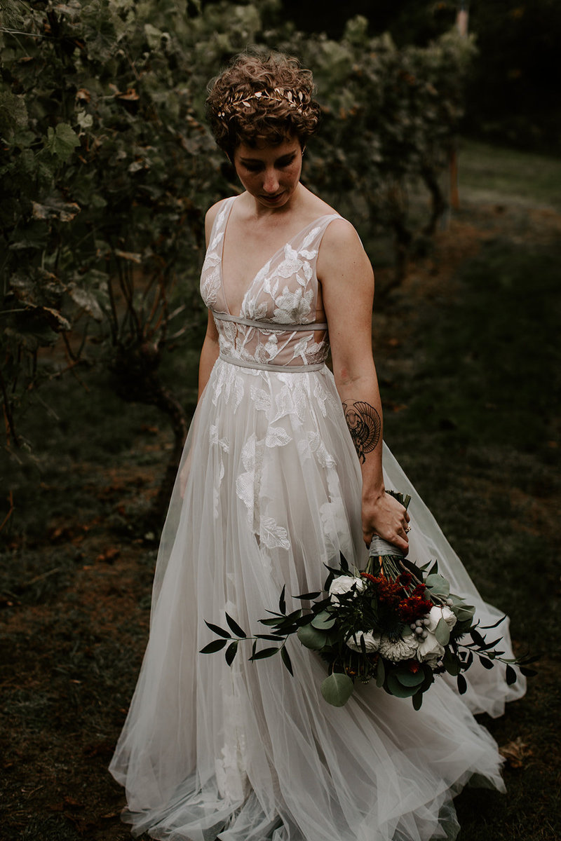 Intimate Vineyard Wedding Bride