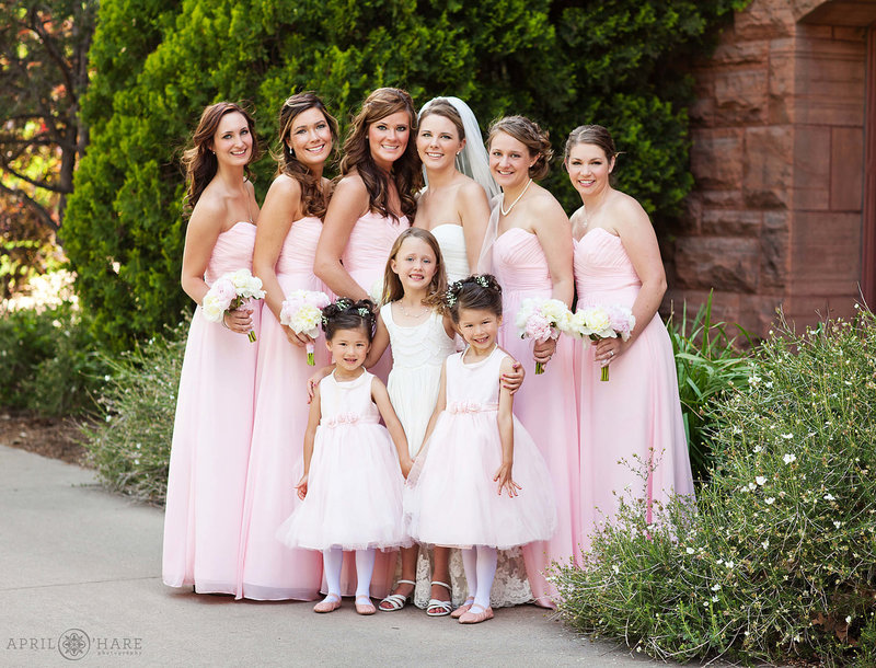 Bridesmaid-Portrait-on-Colorado-College-Campus-outside-of-Shove-Memorial-Chapel