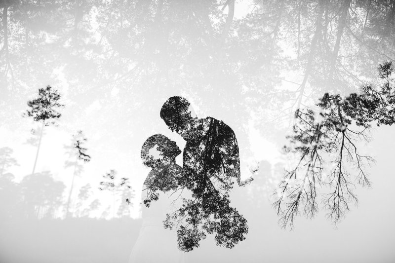 double exposure engagement session