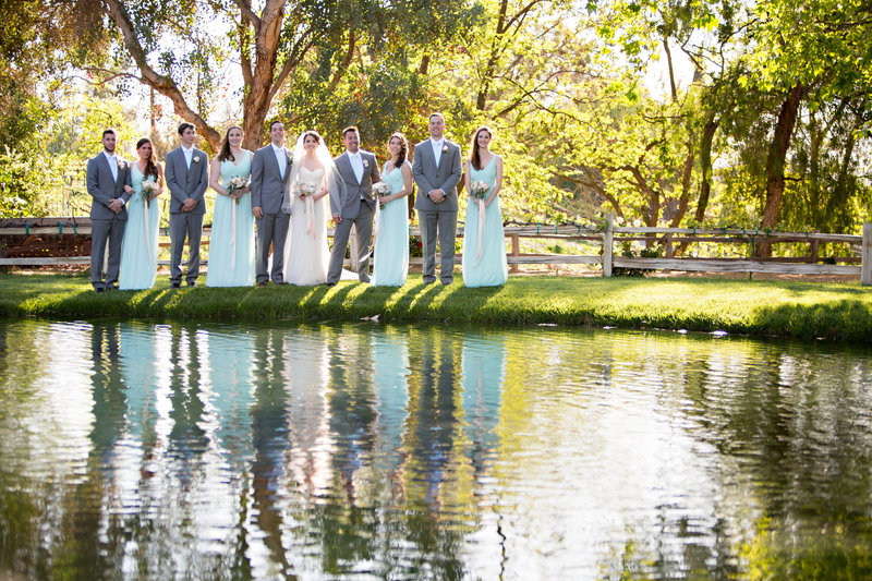 Wedding Party along a lake at Lake Oak Meadows
