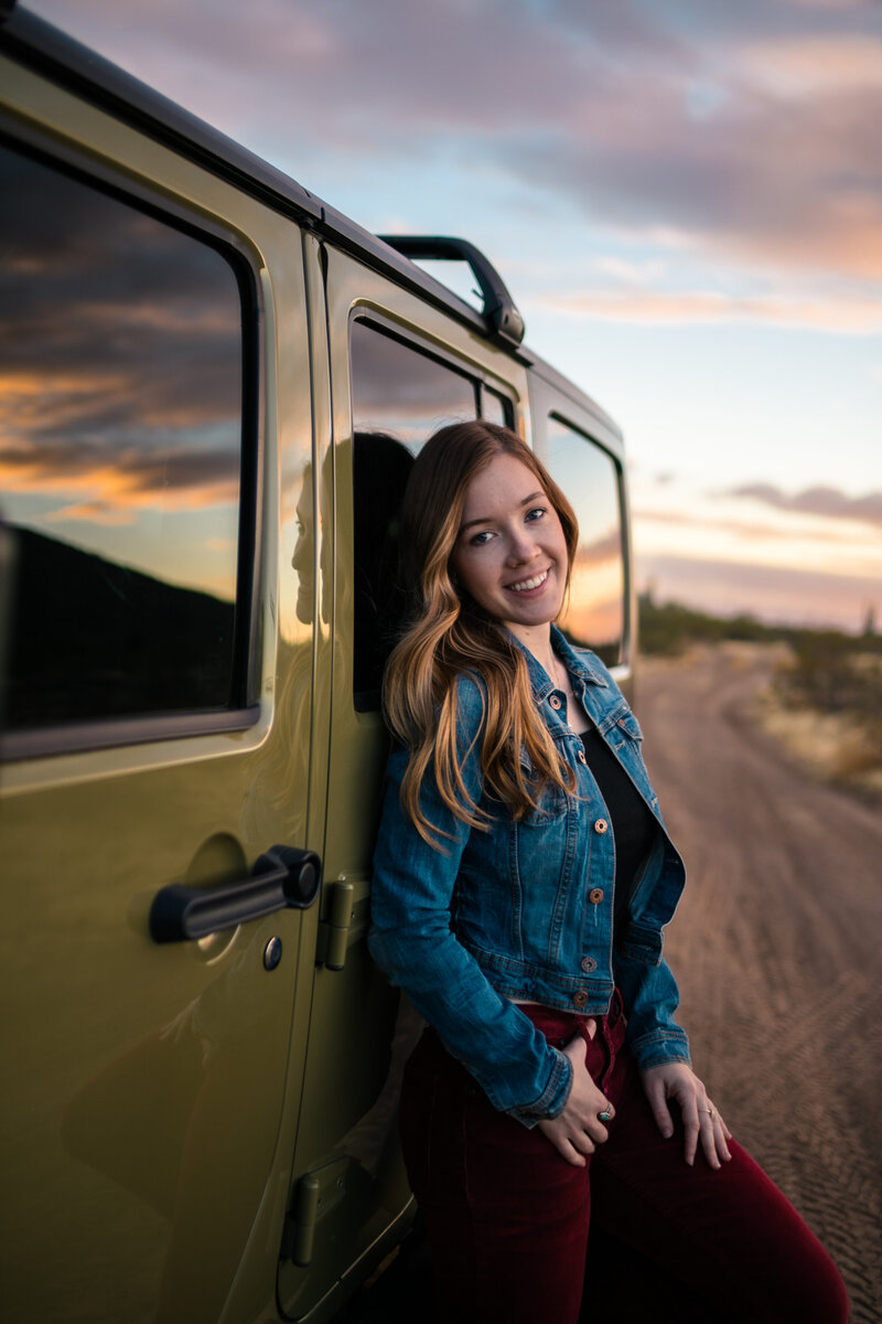 mesa elopement photographer with jeep wrangler