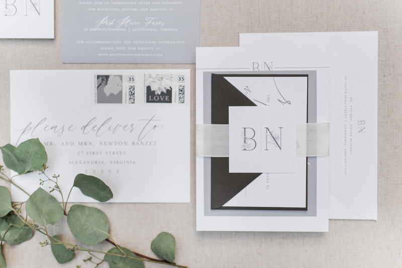 Benton Floral Monogram Wedding Invitation