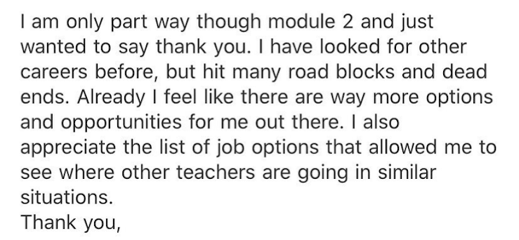 Testimonial for the Teacher Career Coach Course